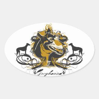 Artistic Urban Greyhound Dog Breed Design Oval Sticker