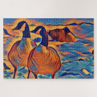 Artistic Vibrant Canada Geese on a Snowy Day Jigsaw Puzzle