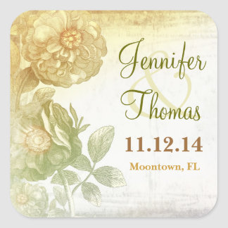 artistic vintage floral wedding stickers