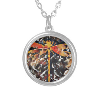 Artistic Warm Fall,Tone Dragonfly Silver Plated Necklace