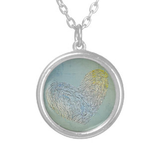 Artistic washed out heart text design round pendant necklace