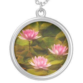 Artistic water lilies, California Silver Plated Necklace
