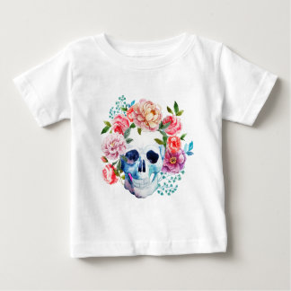 Artistic watercolor skull and flowers baby T-Shirt