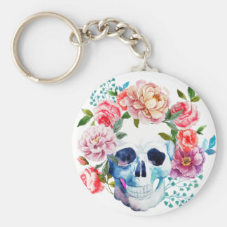 Artistic watercolor skull and flowers basic round button key ring