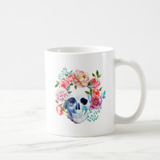 Artistic watercolor skull and flowers coffee mug