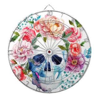 Artistic watercolor skull and flowers dartboard