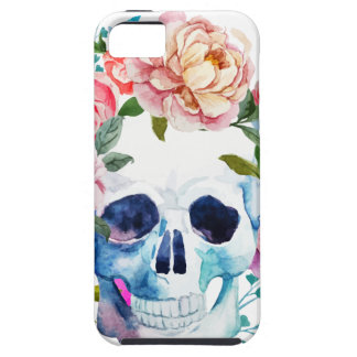 Artistic watercolor skull and flowers iPhone 5 covers