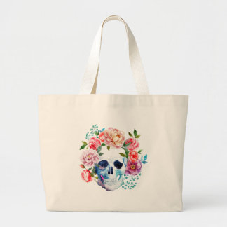 Artistic watercolor skull and flowers large tote bag