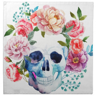 Artistic watercolor skull and flowers napkin