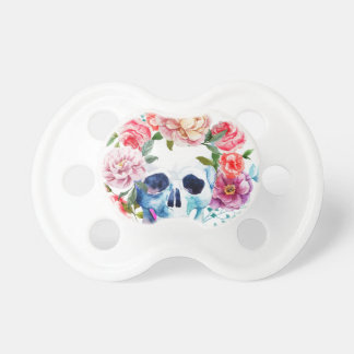 Artistic watercolor skull and flowers pacifier