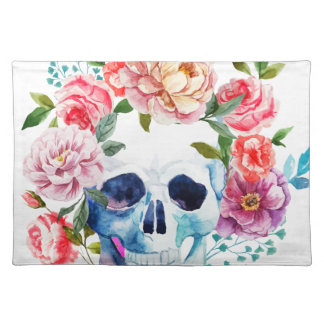 Artistic watercolor skull and flowers placemat