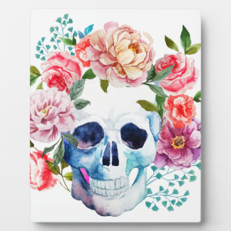 Artistic watercolor skull and flowers plaque