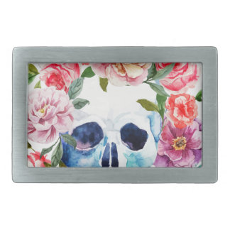 Artistic watercolor skull and flowers rectangular belt buckles