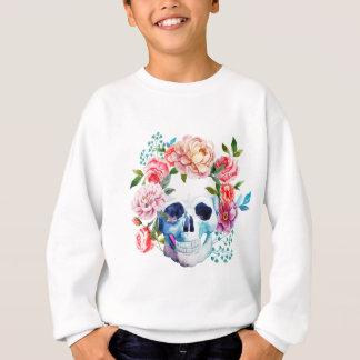 Artistic watercolor skull and flowers sweatshirt