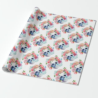 Artistic watercolor skull and flowers wrapping paper