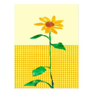 Artistic  Watercolor Sunflower Gingham Patterns Postcard