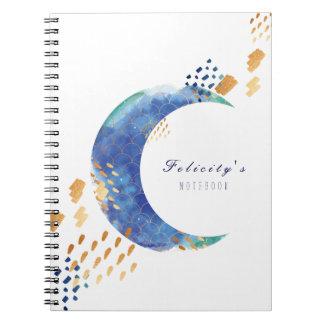 Artistic Watercolour Crescent Moon Notebook