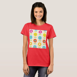 Artistic wild Red T-Shirt with FOLK FLOWERS