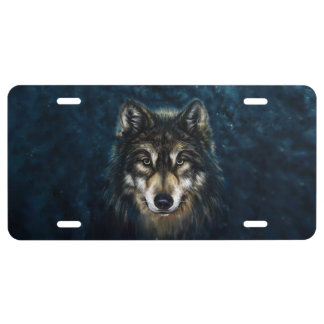 Artistic Wolf Face License Plate