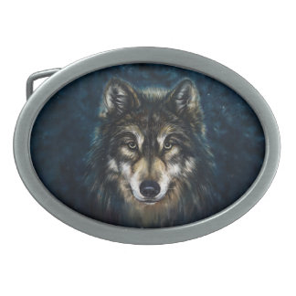 Artistic Wolf Face Oval Belt Buckle