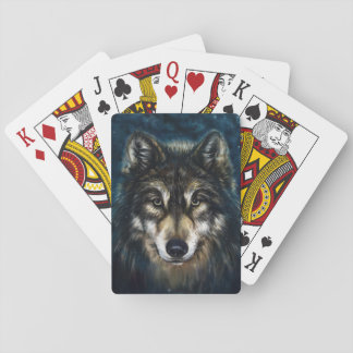 Artistic Wolf Face Playing Cards