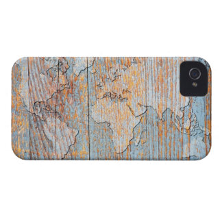 Artistic wooden world map Case-Mate iPhone 4 case