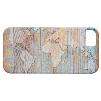 Artistic wooden world map iPhone 5 cases