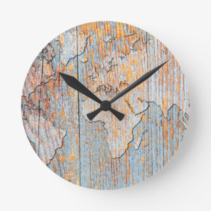 World map wall clocks zazzle artistic wooden world map round clock gumiabroncs Image collections