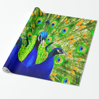 Artistic Yellow Butterflies Blue Peacocks  art Wrapping Paper