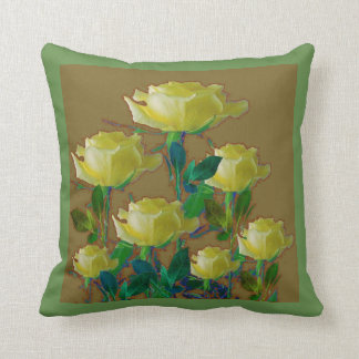ARTISTIC YELLOW ROSE HARMONICS DRAWING GARDEN CUSHION