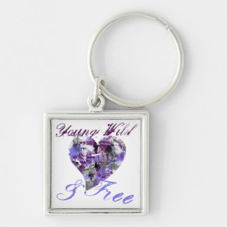 Artistic Young Wild and Free girl Silver-Colored Square Key Ring