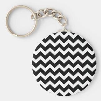 Artistic zigzag Black and white Key Ring