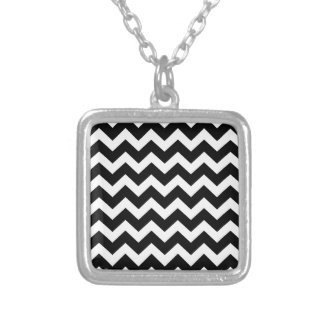 Artistic zigzag Black and white Silver Plated Necklace