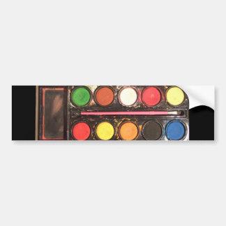 Artist's colorful paint color box car bumper sticker