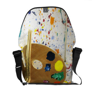 Artists Paint Splatter And Pallet of Paint Messenger Bag