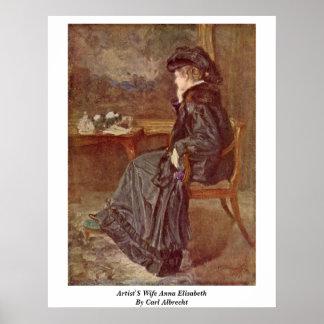 Artist'S Wife Anna Elisabeth By Carl Albrecht Poster