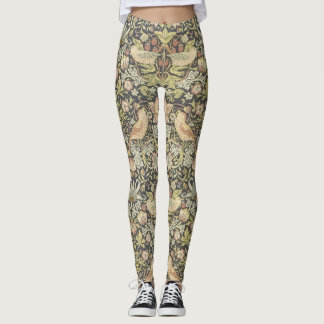 Arts and Craft Floral pattern with Birds Leggings