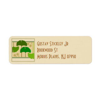Arts and Crafts Ginko Leaves Address Label