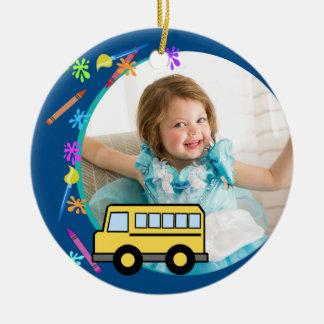 Arts and Crafts School Bus Blue Ceramic Ornament