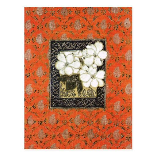 Art And Craft Book Cover : Arts and crafts style book cover with flowers postcard