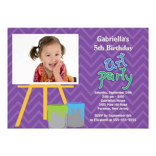 Arts & Crafts Kids Paint Photo Birthday Party Personalized Invite
