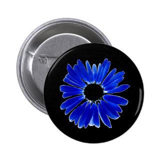 Artsy Abstract Blue Gerbera Daisy 6 Cm Round Badge