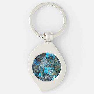 Artsy Abstract Labradorite Mosaic Keychain