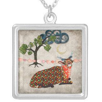 Artsy Addax Dreamy Night Square Pendant Necklace