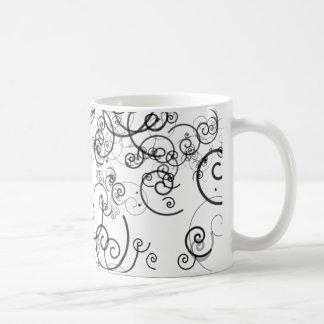 Artsy Black and White Swirls Doodles Modern Basic White Mug