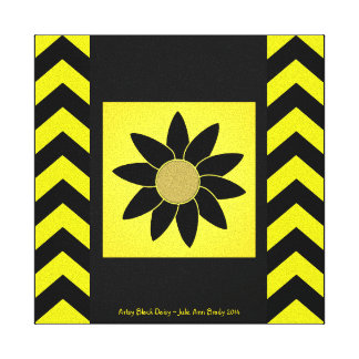 Artsy Black Daisy on Yellow Canvas Print