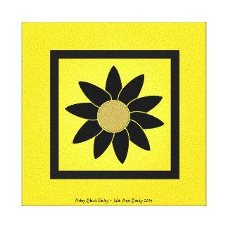Artsy Black Daisy on Yellow Gallery Wrap Canvas