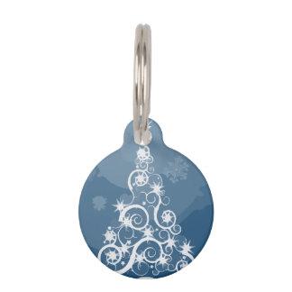 Artsy Blue Christmas Tree Pet Name Tag