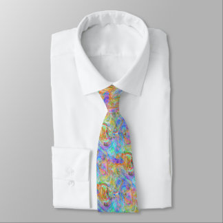 Artsy Bright Colorful Retro Wave Swirls Pattern Tie