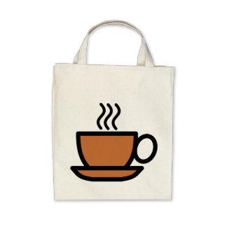 Artsy Brown Coffee Cup Canvas Bags